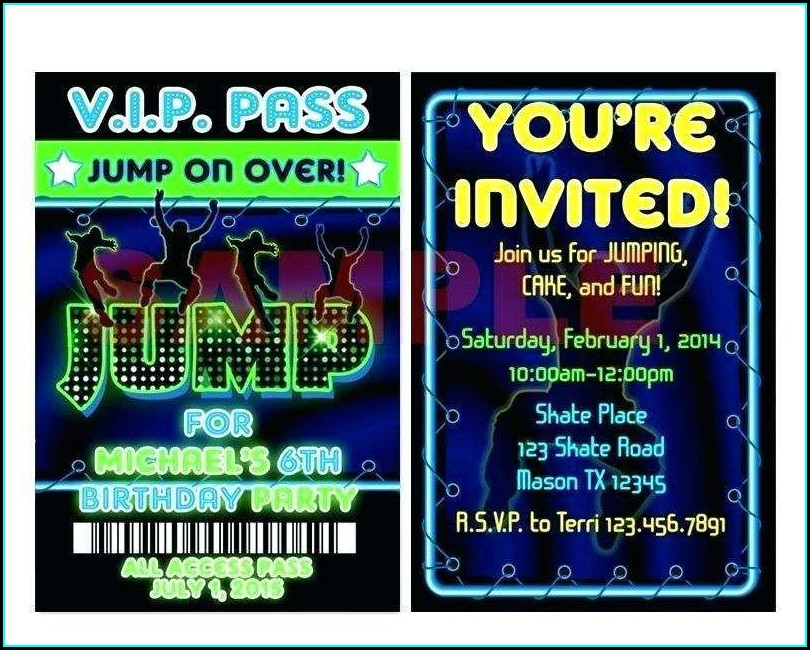 Trampoline Birthday Invitation Template Free