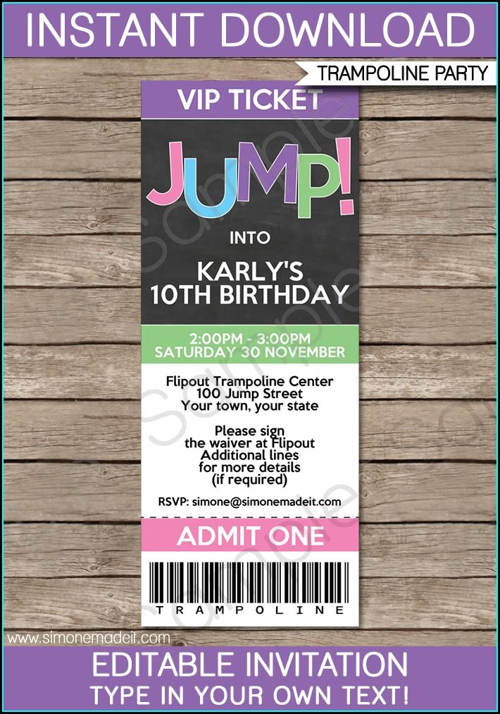 Trampoline Birthday Invitation Template