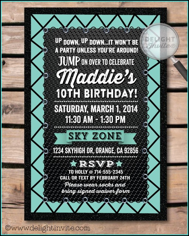 Trampoline Park Birthday Invitation Template