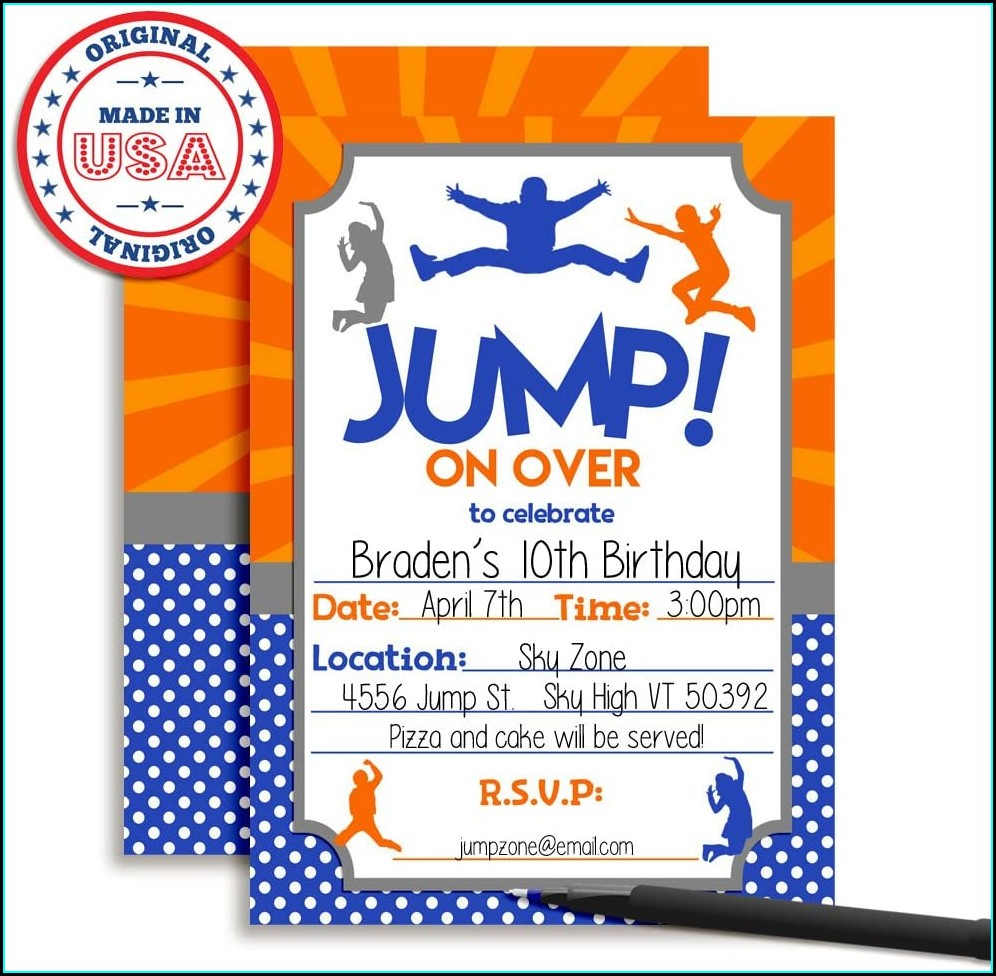 Trampoline Park Birthday Invitations
