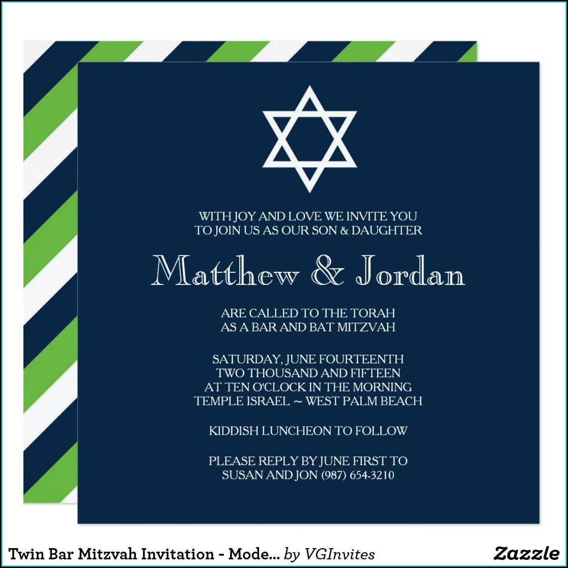 Twin Bar Mitzvah Invitations
