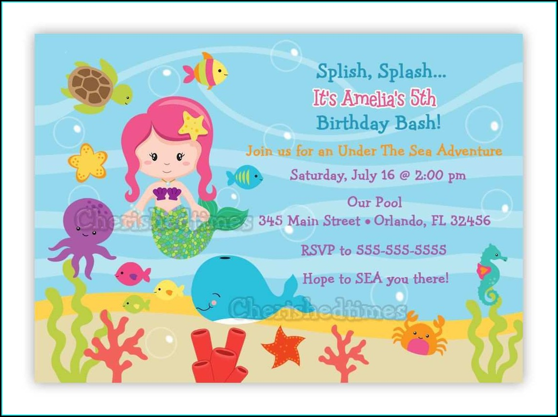 Under The Sea Invitation Template Free