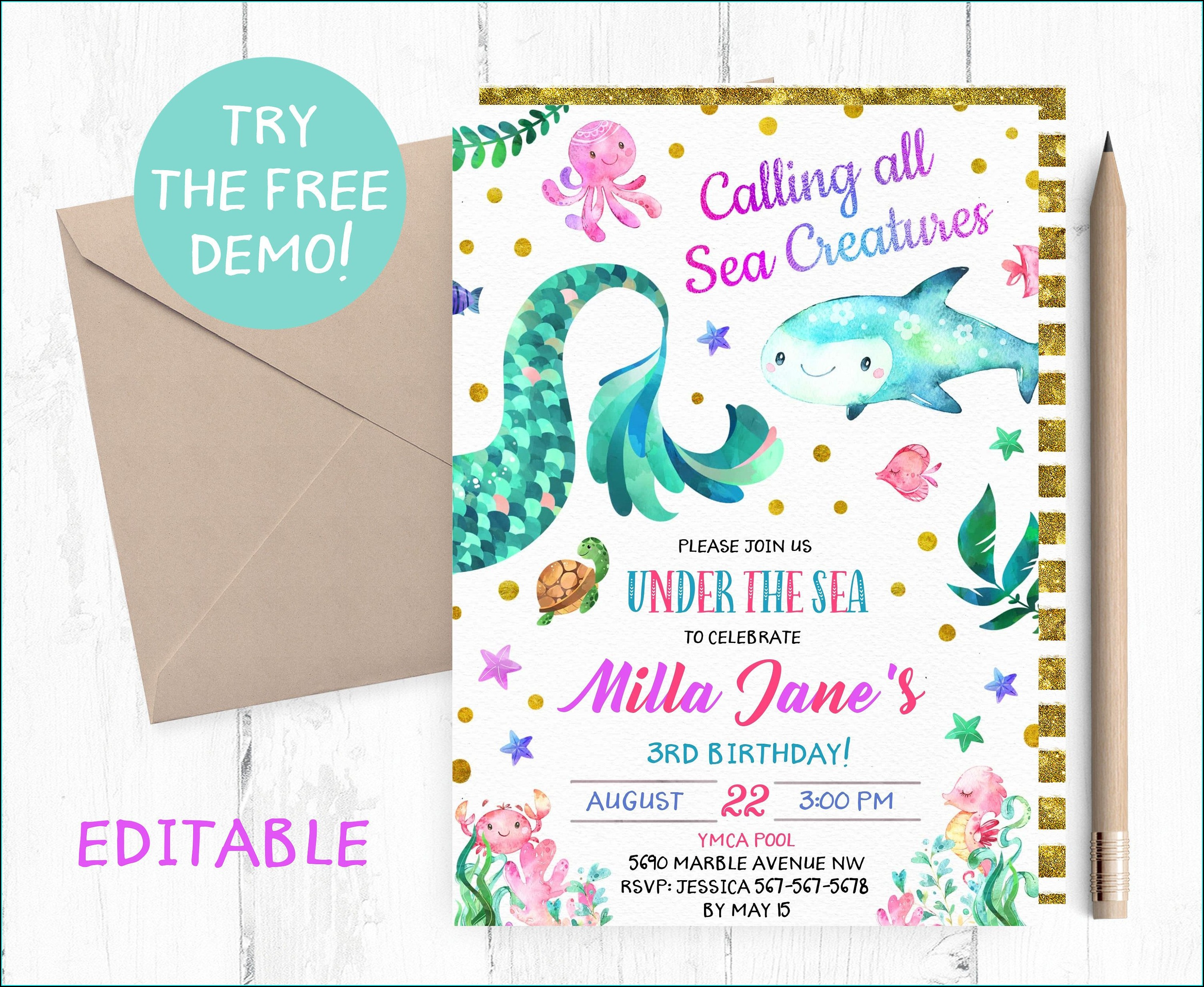 Under The Sea Invitation Template