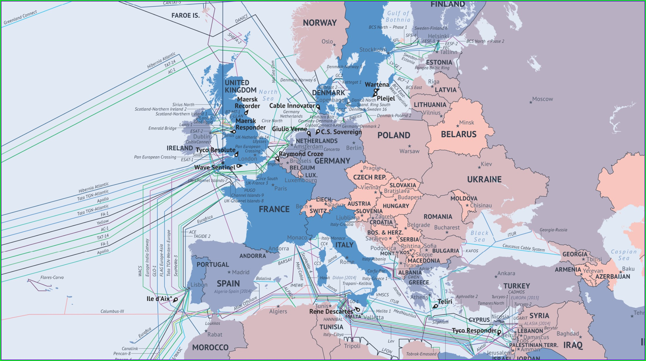 Undersea Internet Cable Map