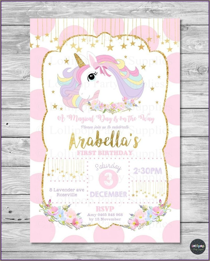 Unicorn 1st Birthday Invitation