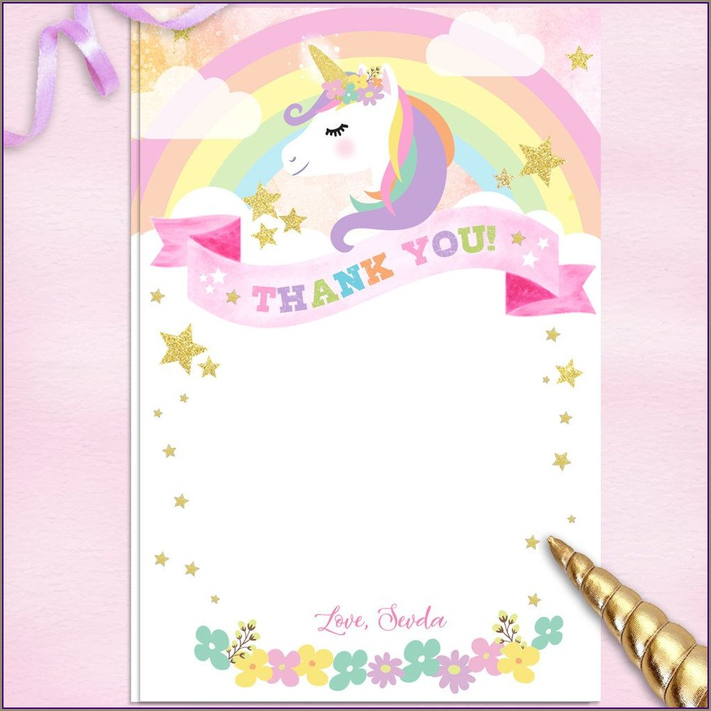 Unicorn Background For Invitation 7th Birthday
