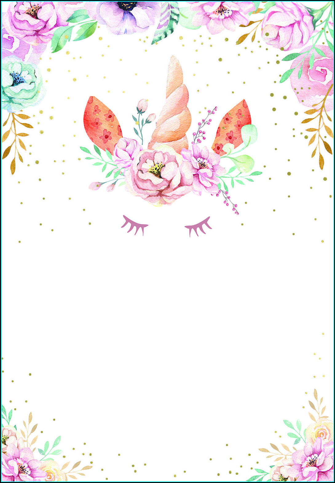 Unicorn Invitation Background With Picture
