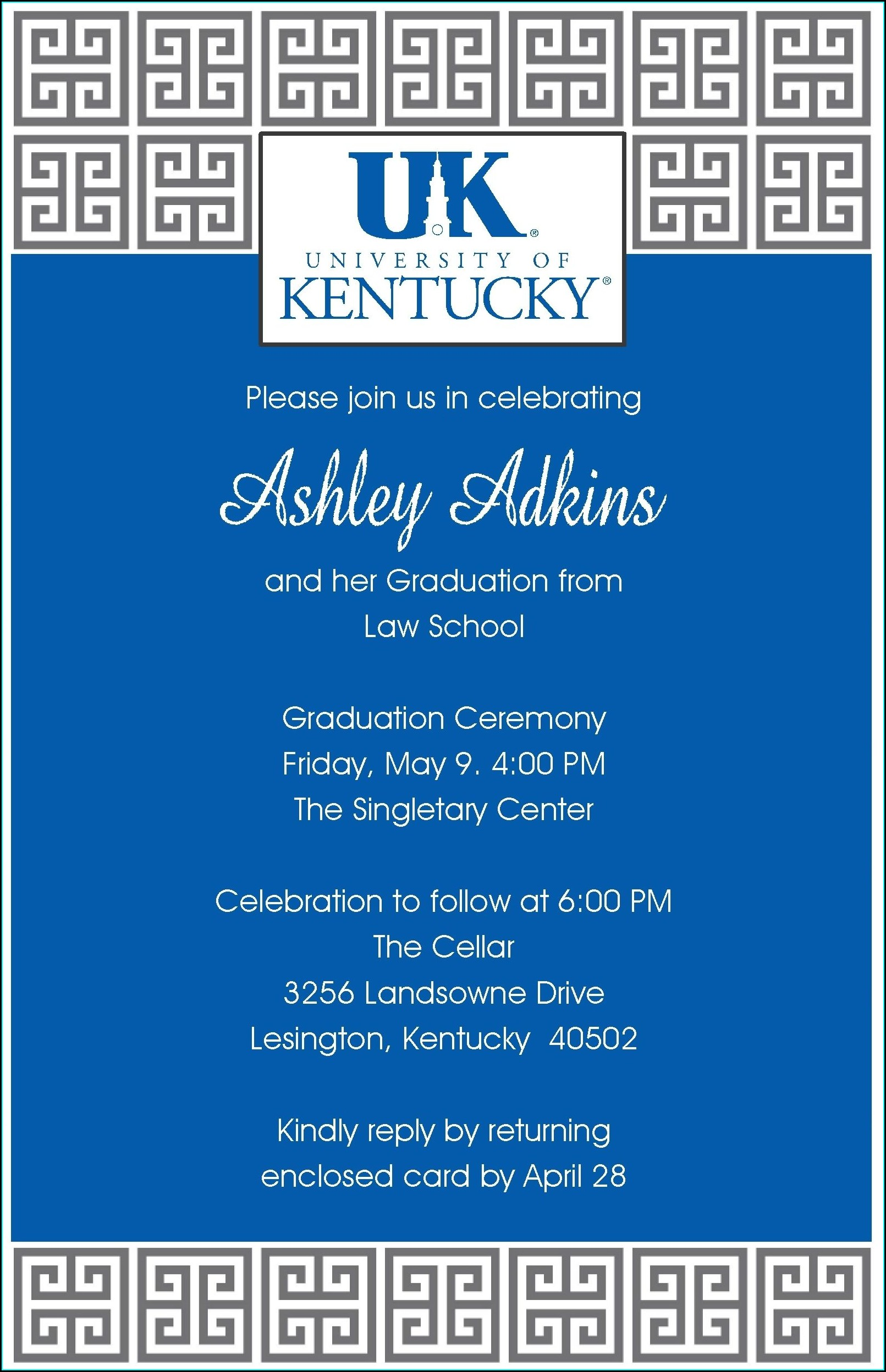 University Of Kentucky Graduation Invitations
