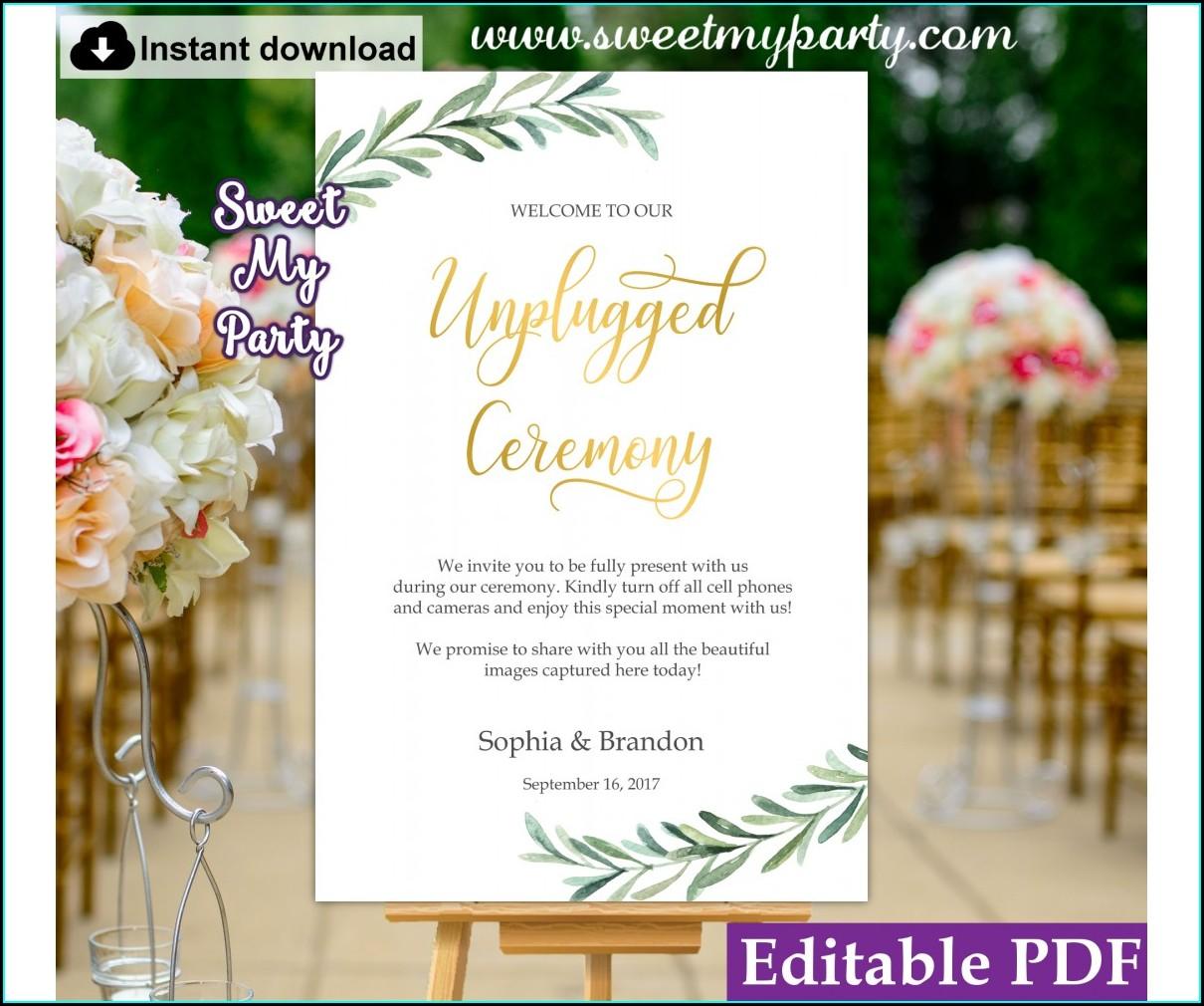 Unplugged Wedding Invitation Insert
