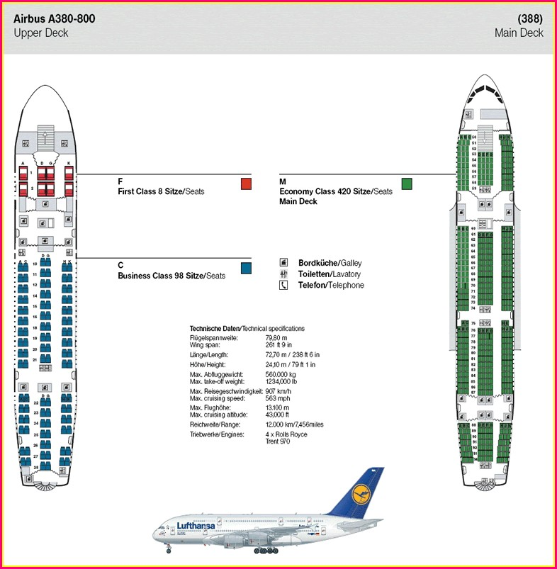 Upper Deck Lufthansa A380 Seat Map