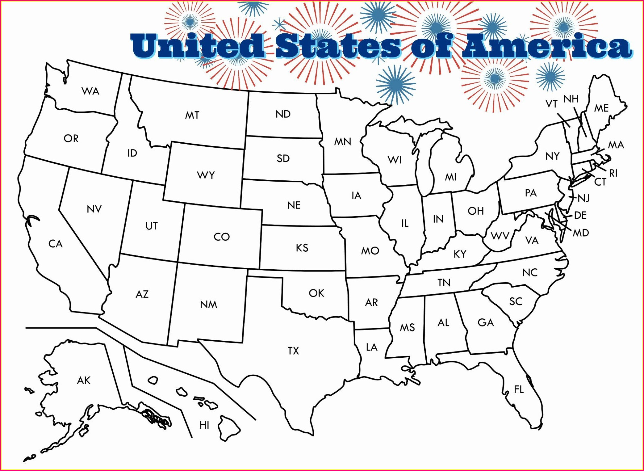 Us State Map Coloring Page