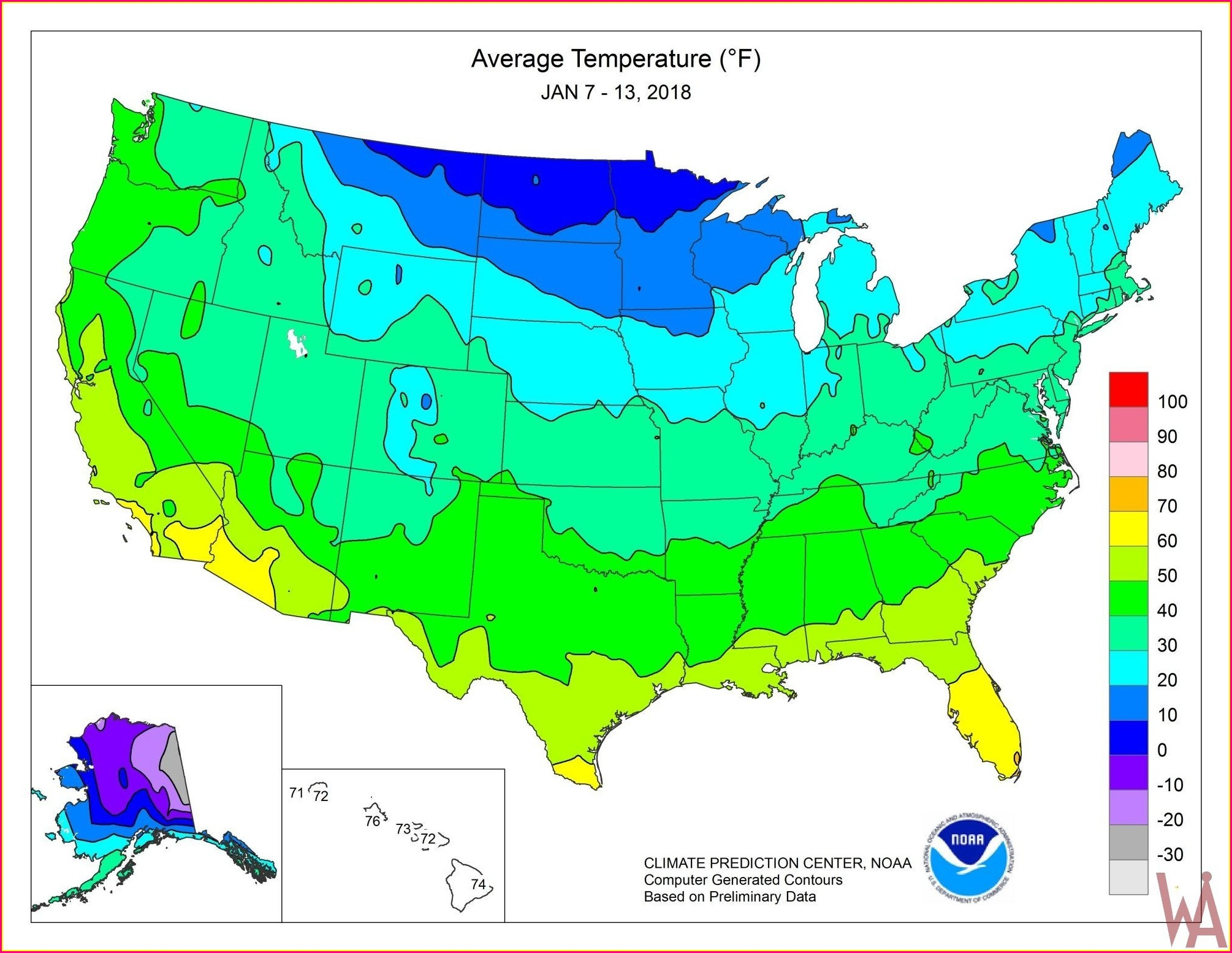 Us Temperature Map Forecast Today