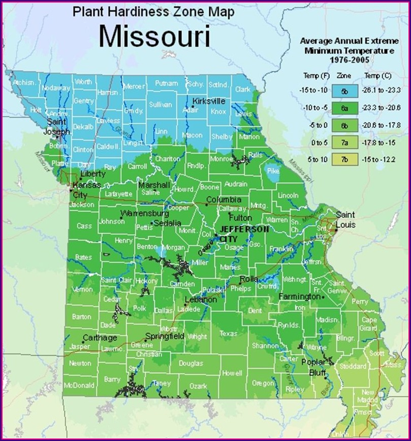 Usda Hardiness Zone Map Missouri