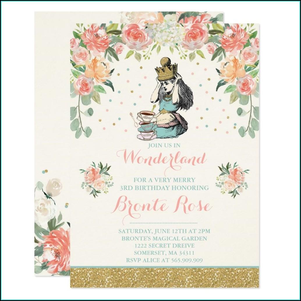 Vintage Alice In Wonderland Birthday Invitations