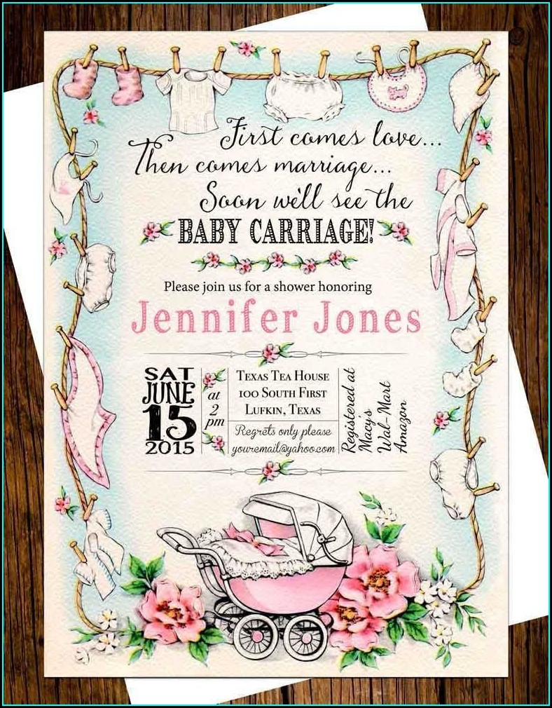 Vintage Baby Carriage Invitations