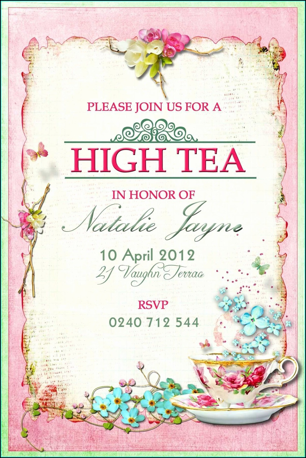Vintage High Tea Invitation Template