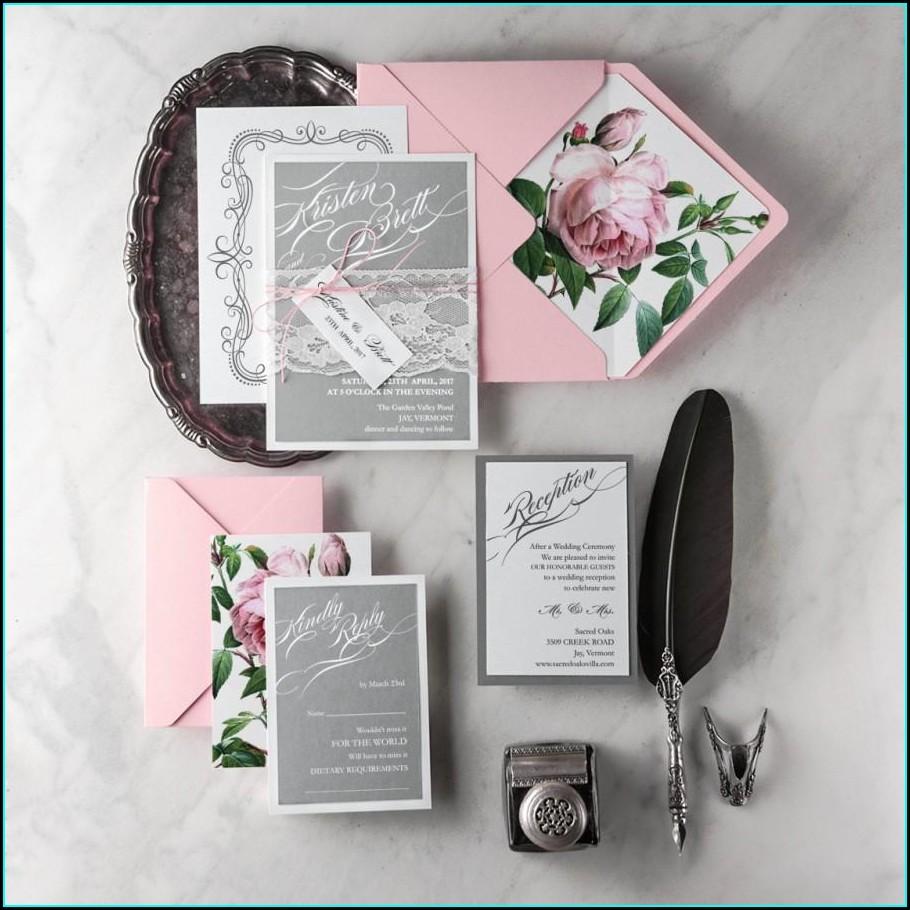 Vintage Pink Wedding Invitations