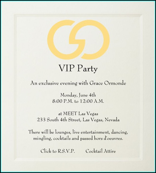 Vip Reception Invitation Wording