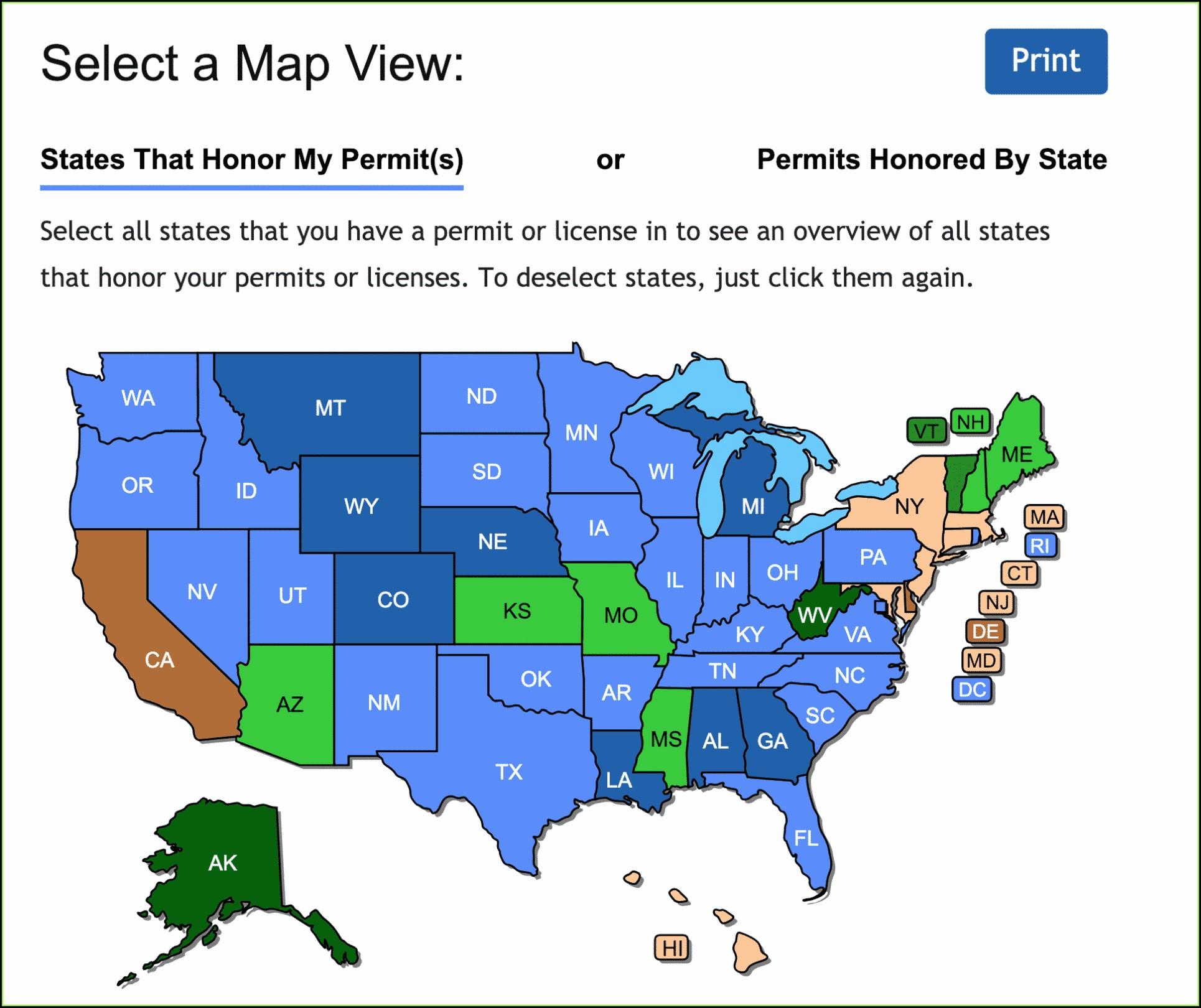 Virginia Non Resident Ccw Reciprocity Map