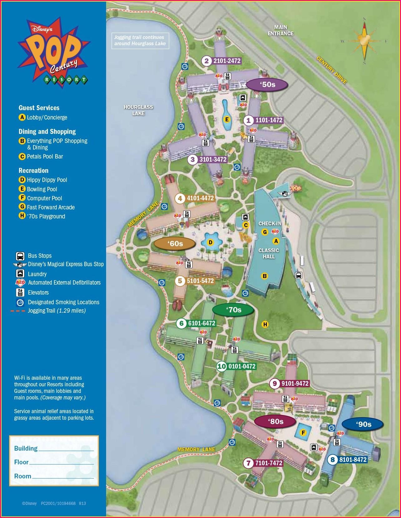 Walt Disney World Pop Century Resort Map