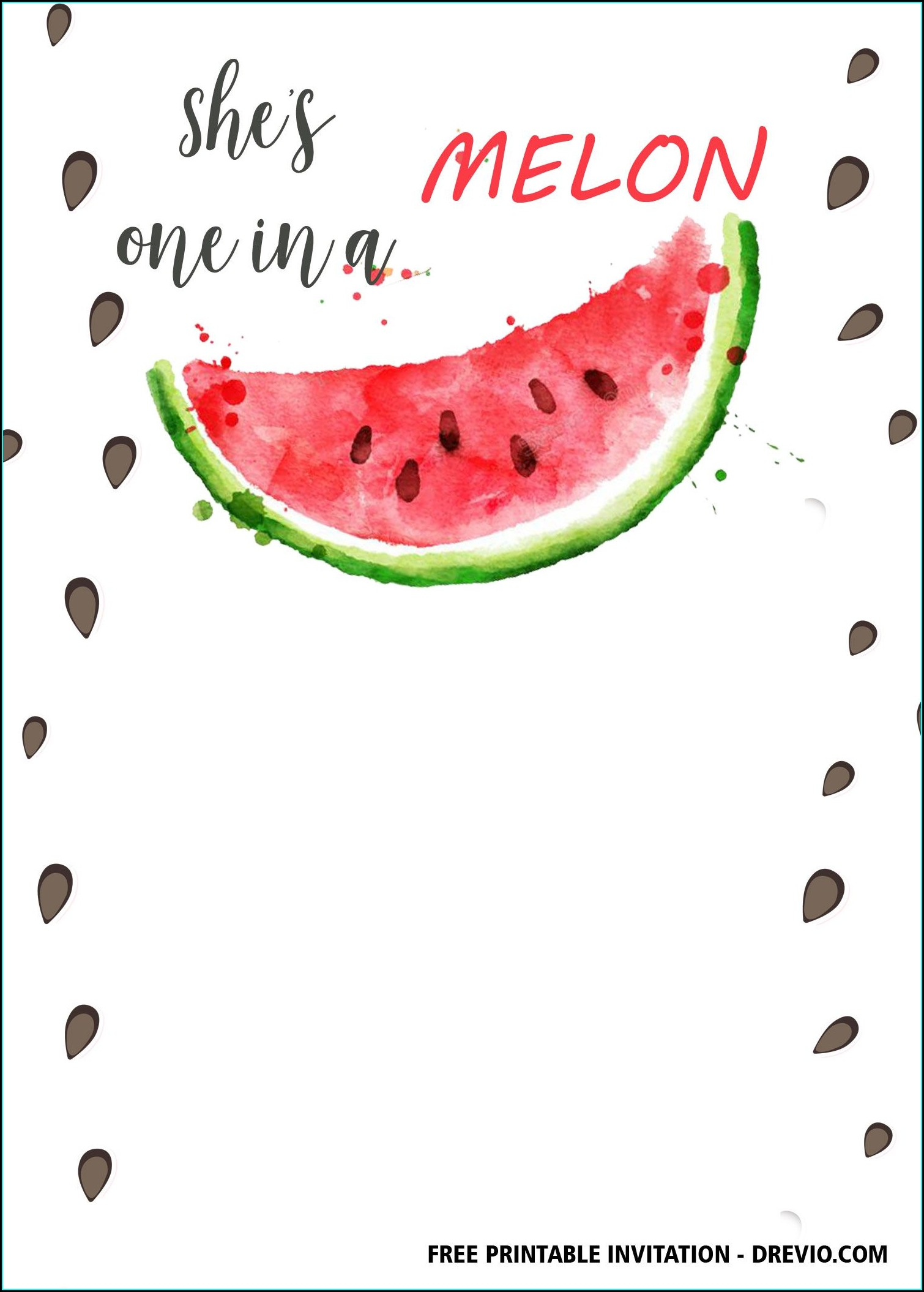 Watermelon Birthday Invitation Template Free