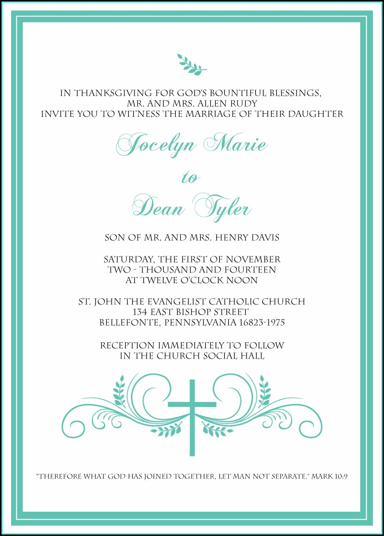 Wedding Blessing Invitation Wording