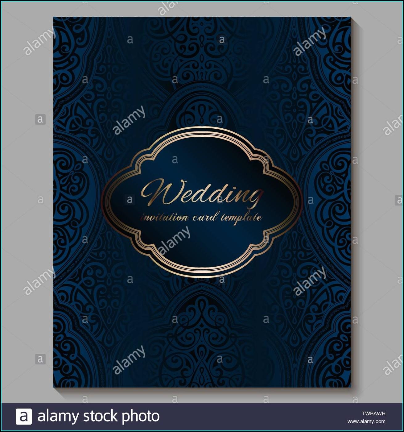Wedding Invitation Card Royal Blue Background Design