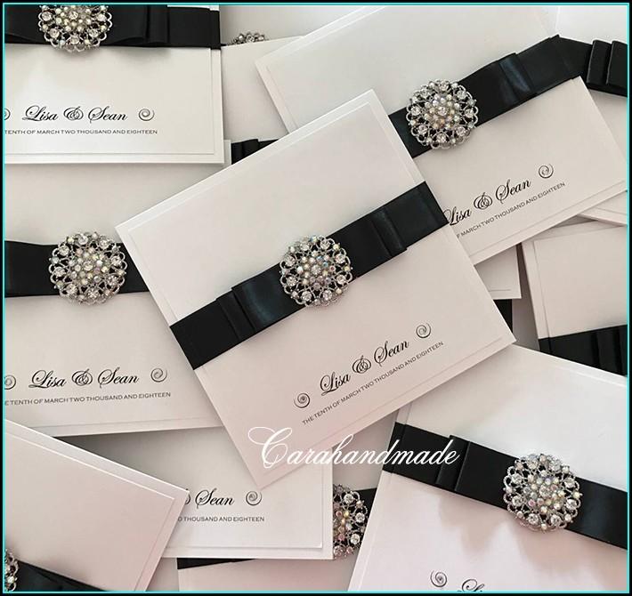 Wedding Invitation With Rhinestone Buckle