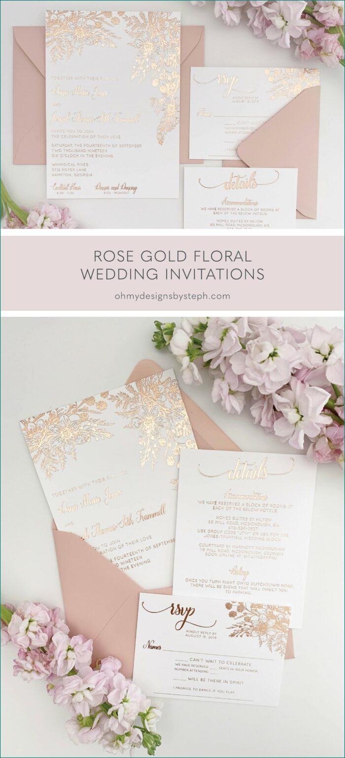 Wedding Invitations Rose Gold Foil