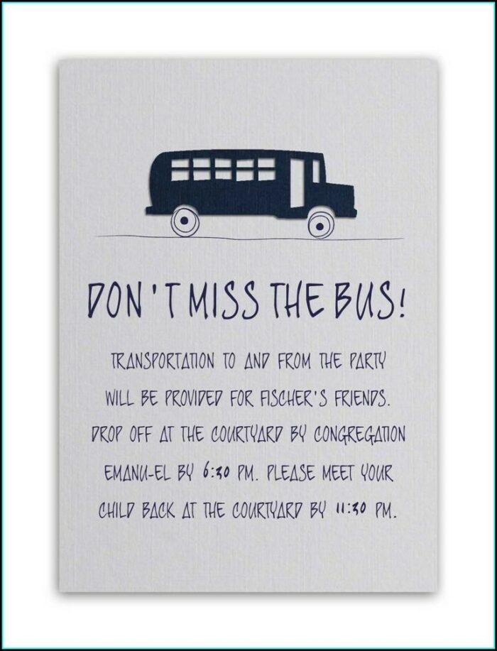 Wedding Invite Bus Wording