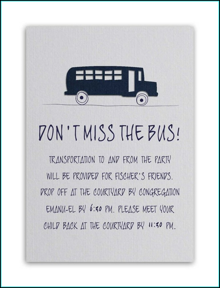 Wedding Invite Bus Wording