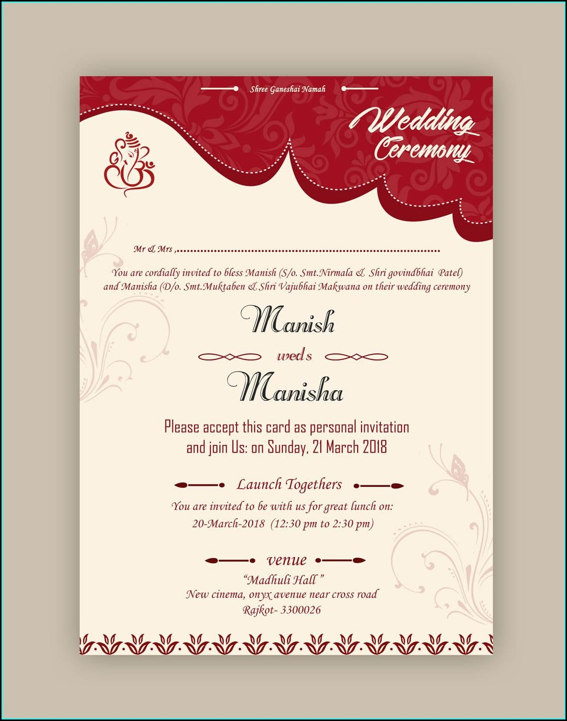 Whatsapp Wedding Invitation Card Template Psd