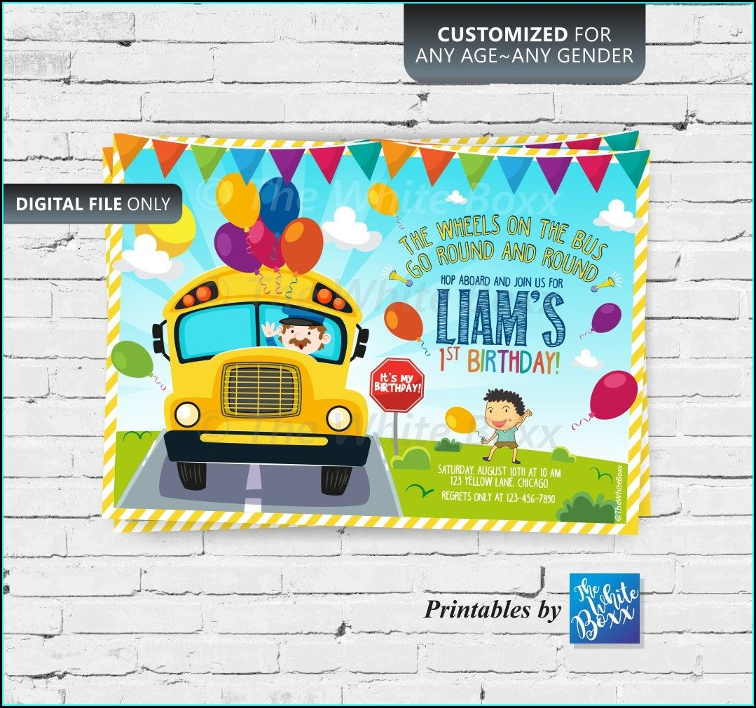 Wheels On The Bus Birthday Invitation Card