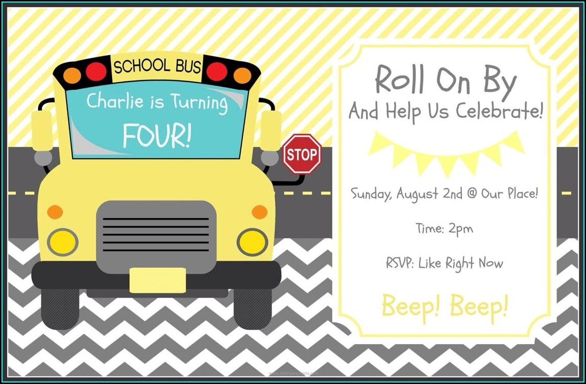 Wheels On The Bus Invitation Card