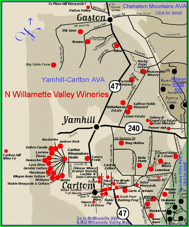 Willamette Valley Oregon Wineries Map