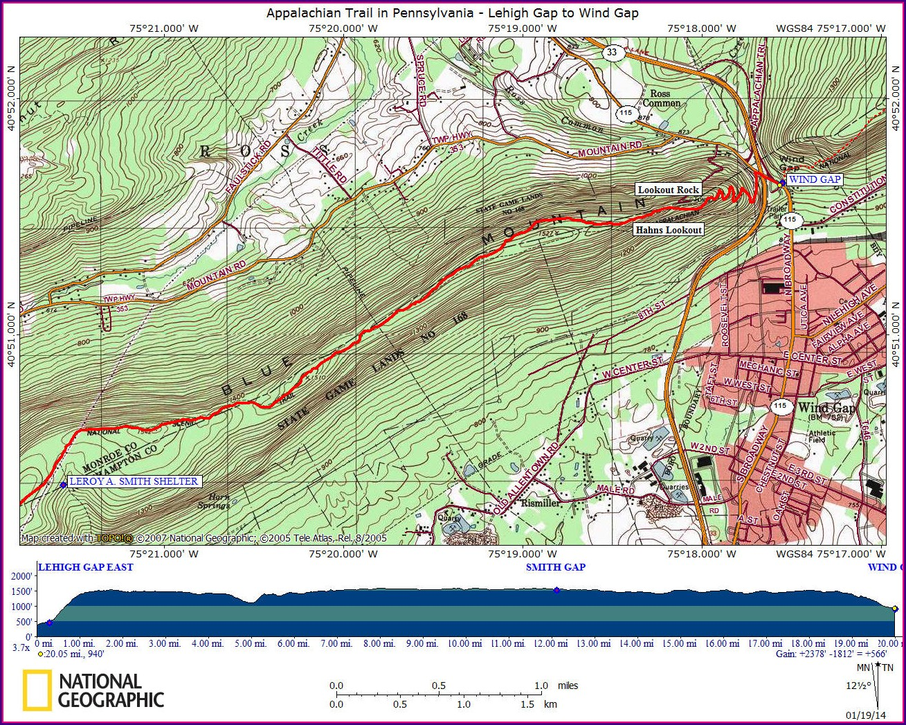 Wind Gap Appalachian Trail Map Pa