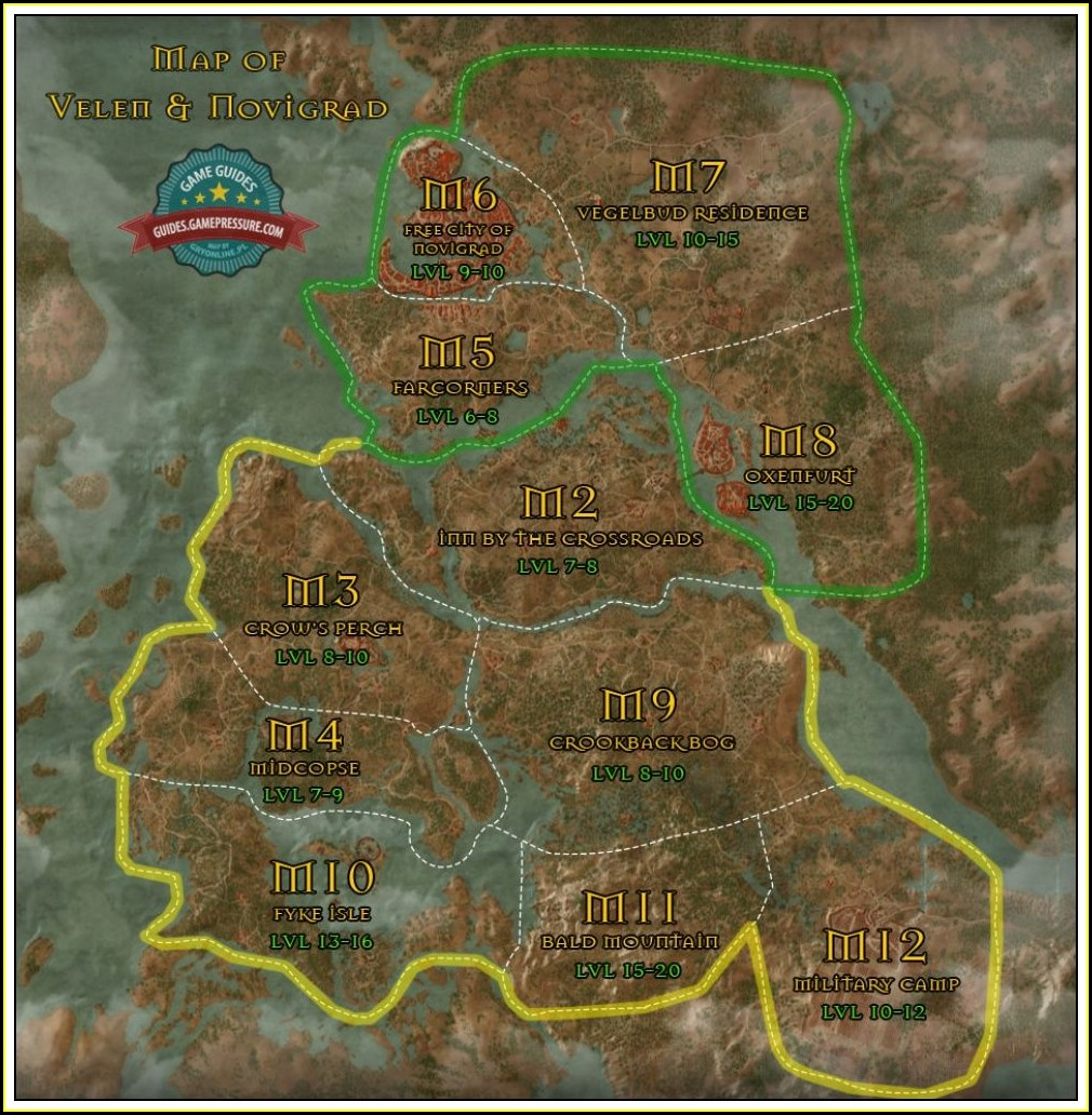 Witcher 3 Map Velen Novigrad