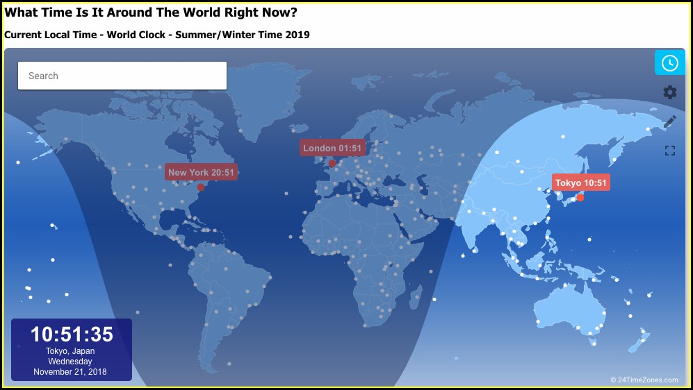 World Clock Map Live
