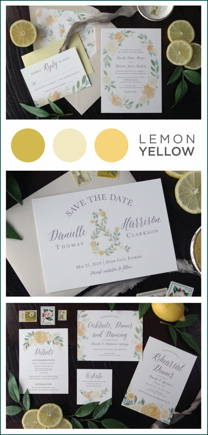 Yellow And Gray Wedding Invitation Sets