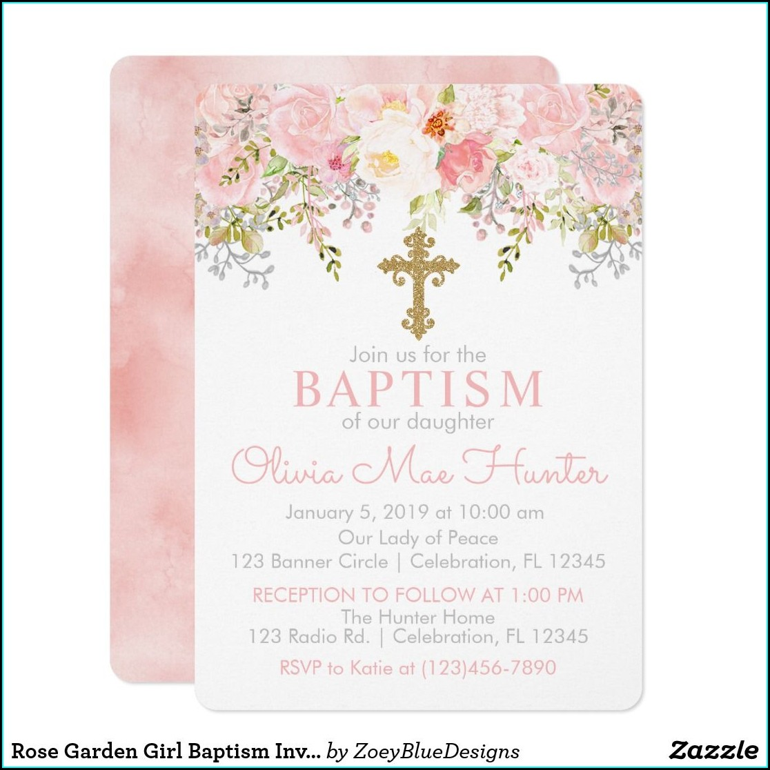 Zazzle Baptism Invitations Girl