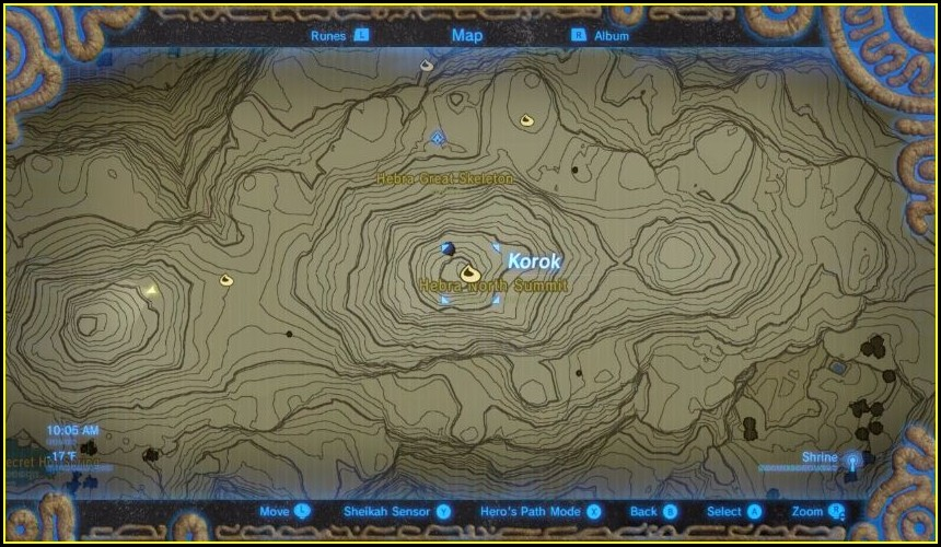 Zelda Breath Of The Wild Shrine Map Hebra