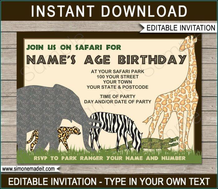 Zoo Birthday Invitations Free