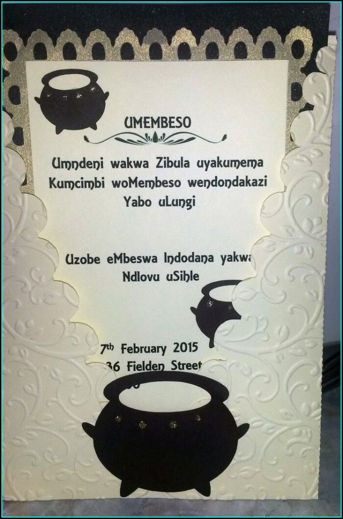 Zulu Traditional Invitation Cards Designs