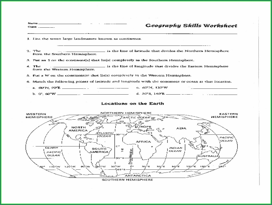 6th Grade Map Skills Worksheets Pdf