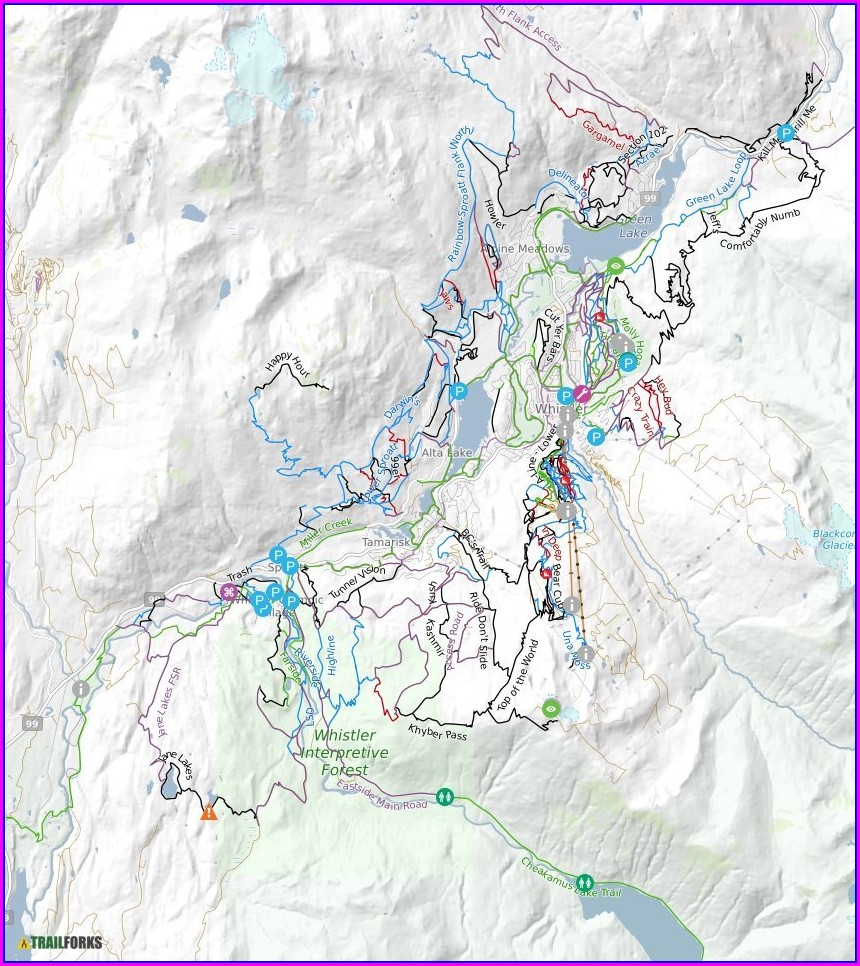 A Line Whistler Bike Park Map