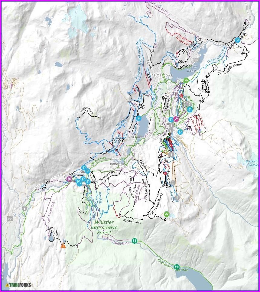 A Line Whistler Bike Park Map