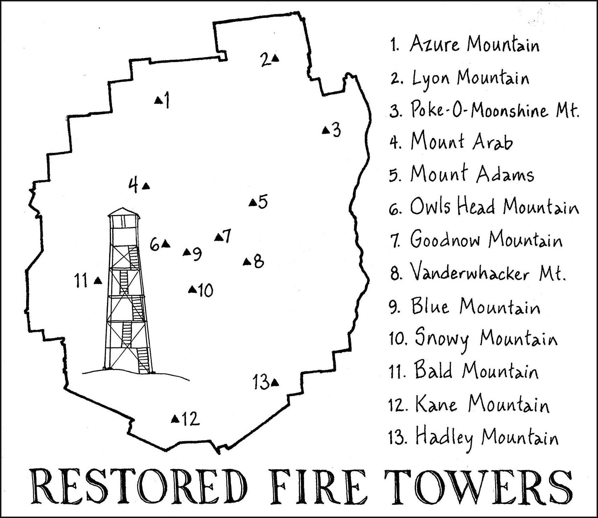 Adirondack Fire Towers Map