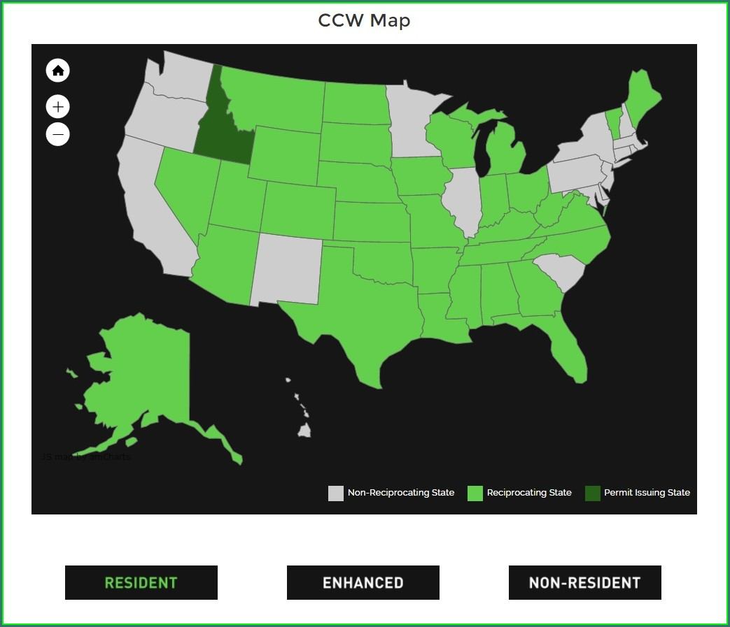 Alabama Concealed Carry Reciprocity Map