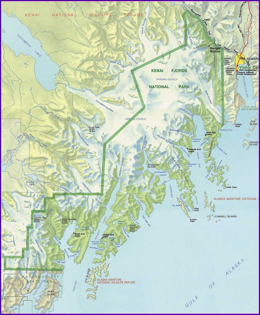 Alaska Kenai Fjords National Park Map