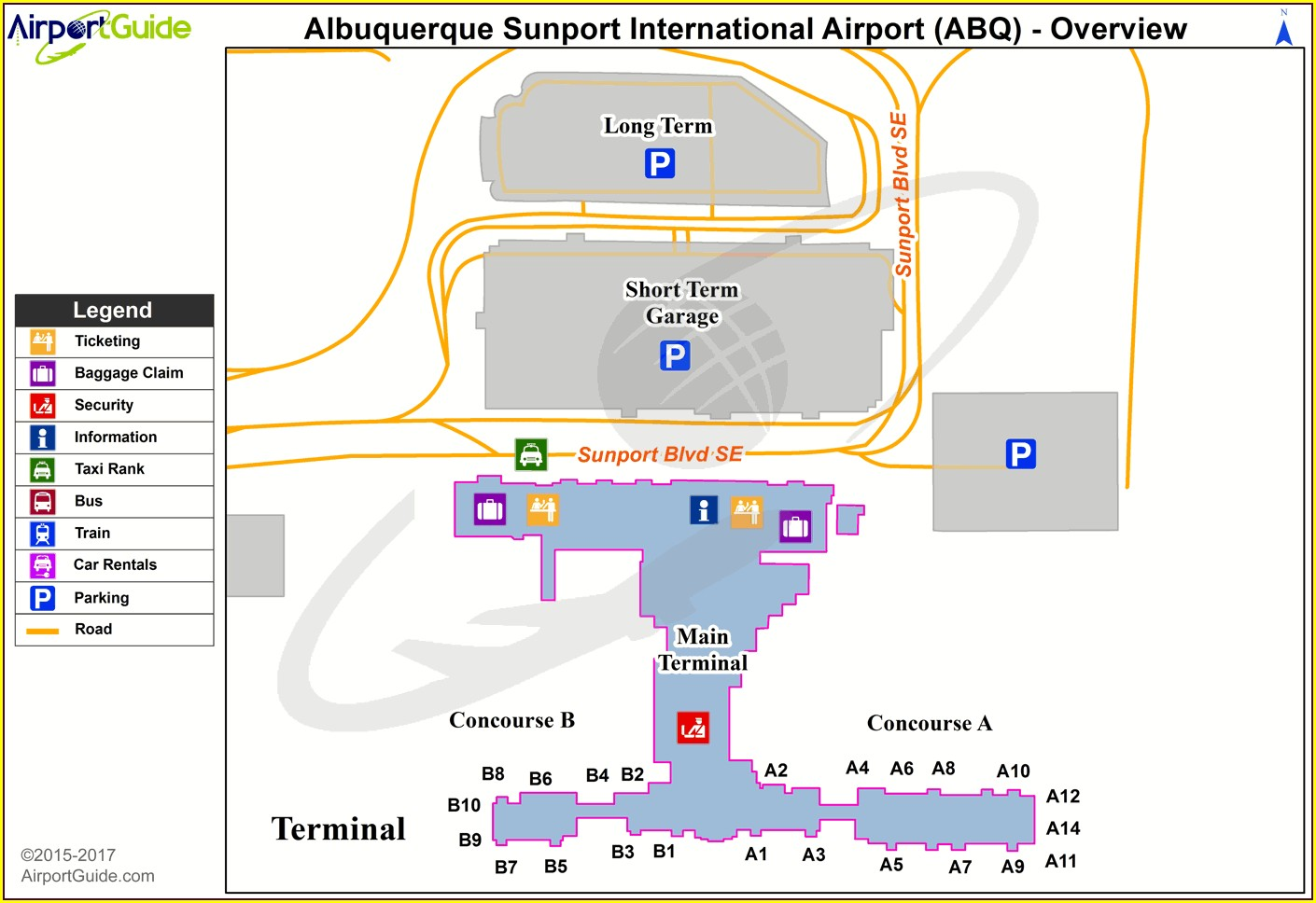 Albuquerque Airport Hotels Map